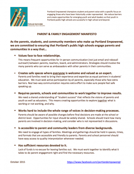 Portland Empowered's Parent & Family Engagement Manifesto outlines six ways the school district can engage the community more effectively.